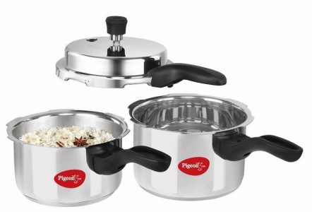 Pigeon Stainless Steel Induction Base Pressure Cooker 2 and 3 Liter (Common Lid)
